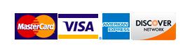 Mastercard, Visa, AMEX, and Discover Logos